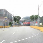 The track leads to a corner to the left...no doubt a lot rubber will be left on the track ... with the Esplanade backdrop...