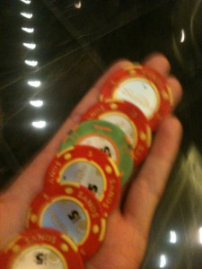 Yeah - my winning chips at the end of night...all of S$50 - haha!