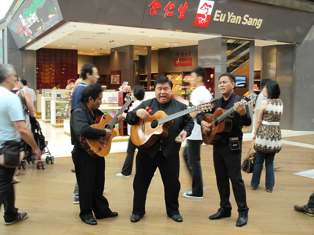 Some singers just outside the Marina Bay Sands Food Court