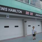 Mum with the McLaren Garage Backdrop
