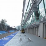 Looking back down the Pit Lane