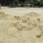 The sandcastle with the East Coast Food Court in the backdrop