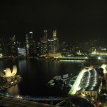 You can see the lit circuit snaking around the Marina Bay Streets