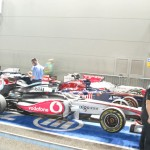 Hamilton's and the other cars at the back of the pit...