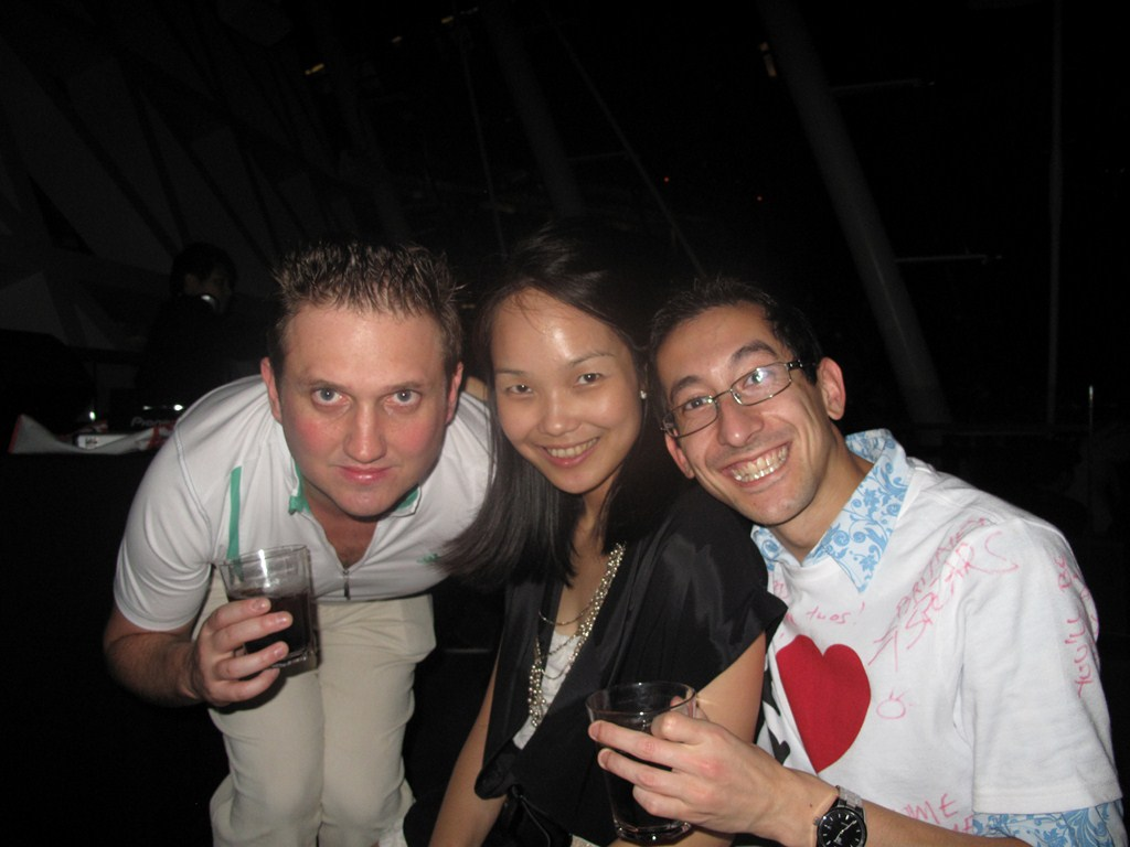 Alan, Elaine and Aaron chilling (with another drink)