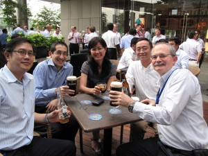 My colleagues relaxing with a beer (or two!)