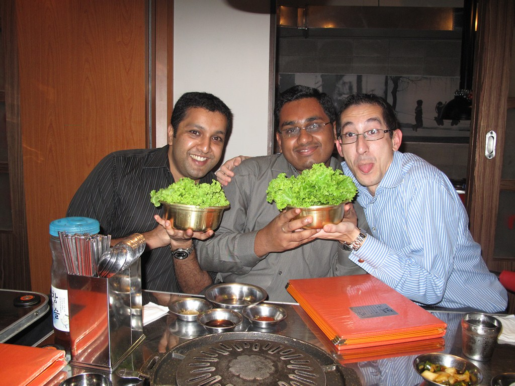 Shyamendren, Amarnath and me showing we are being healthy eaters :)