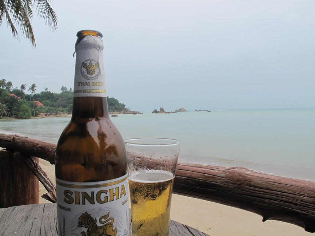 Relaxing with a Singha Beer