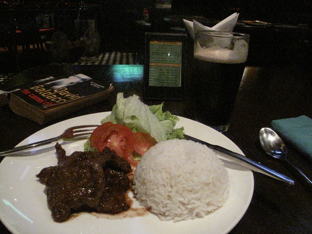 My Steak and Rice Dinner with a Guinness - at the Irish Pub
